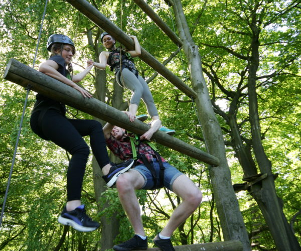 team work on the Jacob's ladder at Outdoor Elements