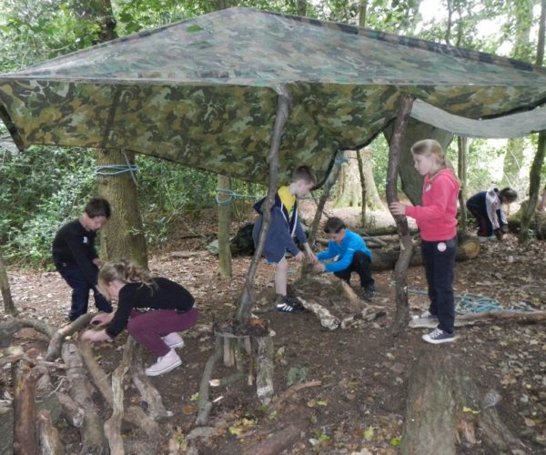 Kids party shelter building at Outdoor Elements in Lancashire