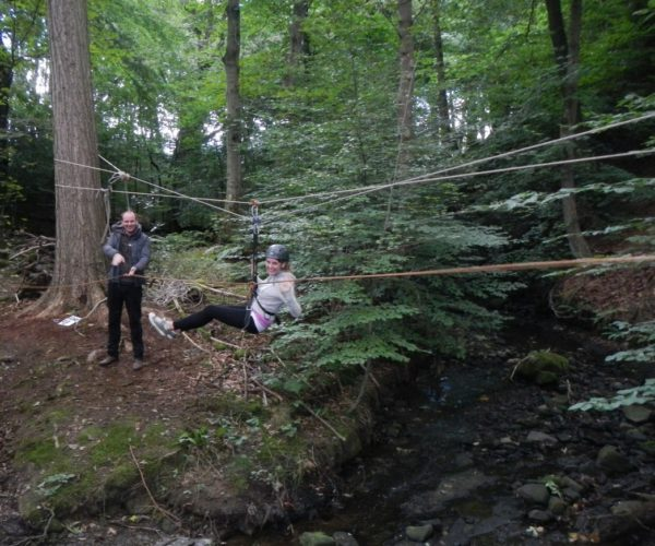 Tyrolean traverse at Outdoor Elements Team Building Centre in Lancashire