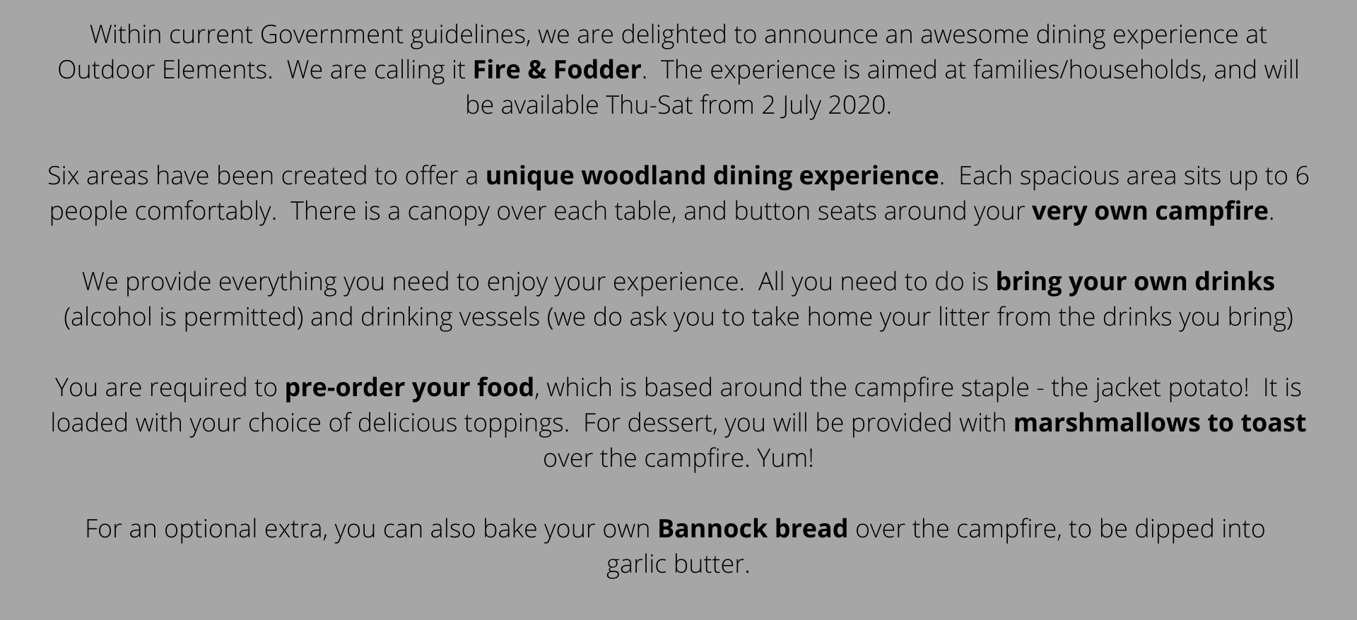 Fire & Fodder Woodland Dining Experience in Simonstone